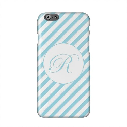 Calligraphy Monogram R on Mint Slanted Stripes Solid White Hard Case Cover for Apple iPhone 6 PLUS/6S PLUS (5.5 inch)
