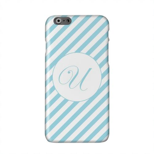 Calligraphy Monogram U on Mint Slanted Stripes Solid White Hard Case Cover for Apple iPhone 6 PLUS/6S PLUS (5.5 inch)