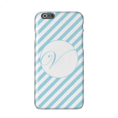 Calligraphy Monogram V on Mint Slanted Stripes Solid White Hard Case Cover for Apple iPhone 6 PLUS/6S PLUS (5.5 inch)