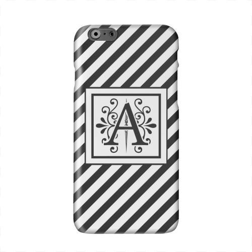 Vintage Vine Monogram A On Black Slanted Stripes Solid White Hard Case Cover for Apple iPhone 6 PLUS/6S PLUS (5.5 inch)
