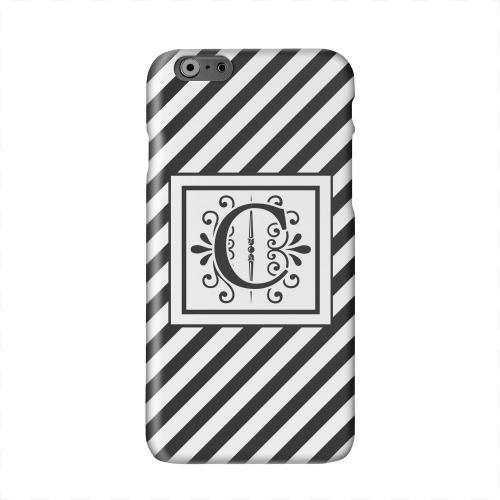 Vintage Vine Monogram C On Black Slanted Stripes Solid White Hard Case Cover for Apple iPhone 6 PLUS/6S PLUS (5.5 inch)