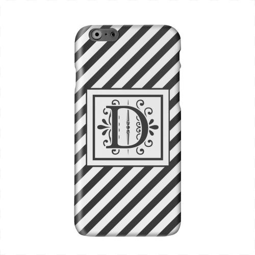 Vintage Vine Monogram D On Black Slanted Stripes Solid White Hard Case Cover for Apple iPhone 6 PLUS/6S PLUS (5.5 inch)