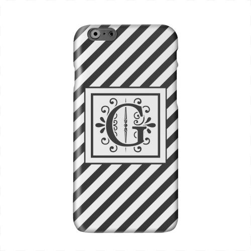 Vintage Vine Monogram G On Black Slanted Stripes Solid White Hard Case Cover for Apple iPhone 6 PLUS/6S PLUS (5.5 inch)