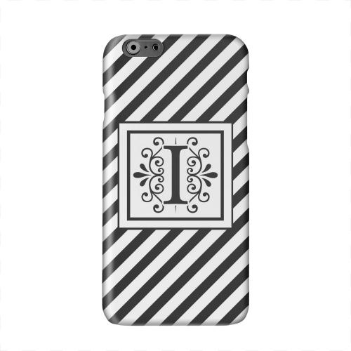 Vintage Vine Monogram I On Black Slanted Stripes Solid White Hard Case Cover for Apple iPhone 6 PLUS/6S PLUS (5.5 inch)