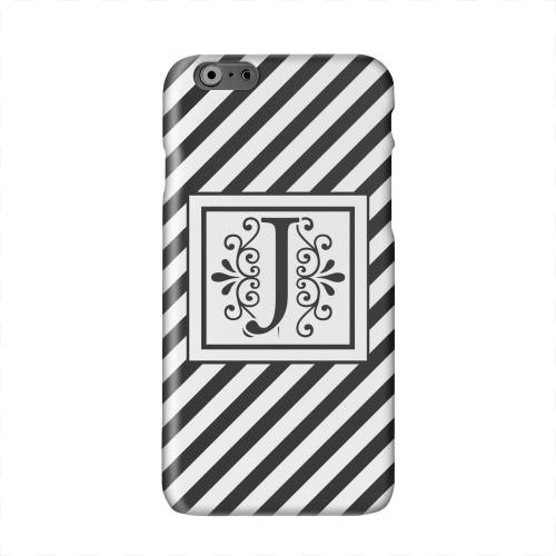 Vintage Vine Monogram J On Black Slanted Stripes Solid White Hard Case Cover for Apple iPhone 6 PLUS/6S PLUS (5.5 inch)
