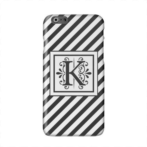 Vintage Vine Monogram K On Black Slanted Stripes Solid White Hard Case Cover for Apple iPhone 6 PLUS/6S PLUS (5.5 inch)