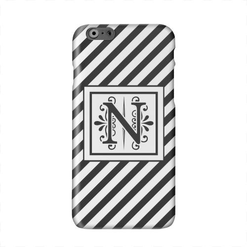 Vintage Vine Monogram N On Black Slanted Stripes Solid White Hard Case Cover for Apple iPhone 6 PLUS/6S PLUS (5.5 inch)