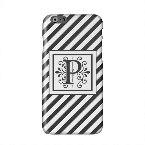 Vintage Vine Monogram P On Black Slanted Stripes Solid White Hard Case Cover for Apple iPhone 6 PLUS/6S PLUS (5.5 inch)