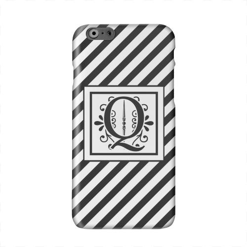 Vintage Vine Monogram Q On Black Slanted Stripes Solid White Hard Case Cover for Apple iPhone 6 PLUS/6S PLUS (5.5 inch)