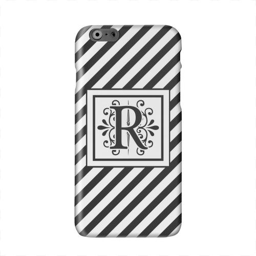 Vintage Vine Monogram R On Black Slanted Stripes Solid White Hard Case Cover for Apple iPhone 6 PLUS/6S PLUS (5.5 inch)