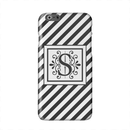 Vintage Vine Monogram S On Black Slanted Stripes Solid White Hard Case Cover for Apple iPhone 6 PLUS/6S PLUS (5.5 inch)