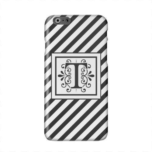 Vintage Vine Monogram T On Black Slanted Stripes Solid White Hard Case Cover for Apple iPhone 6 PLUS/6S PLUS (5.5 inch)