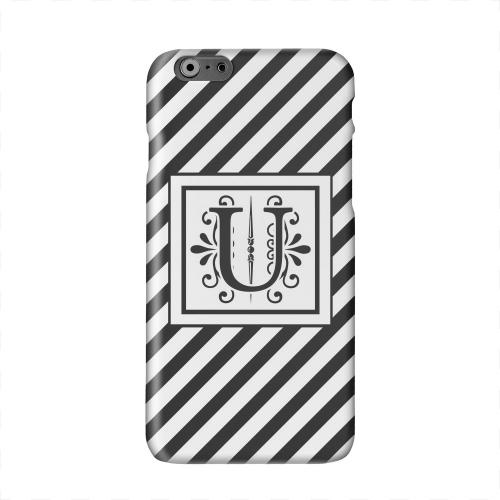 Vintage Vine Monogram U On Black Slanted Stripes Solid White Hard Case Cover for Apple iPhone 6 PLUS/6S PLUS (5.5 inch)