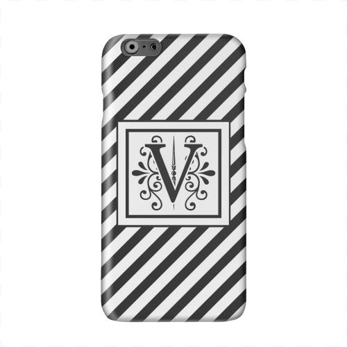 Vintage Vine Monogram V On Black Slanted Stripes Solid White Hard Case Cover for Apple iPhone 6 PLUS/6S PLUS (5.5 inch)