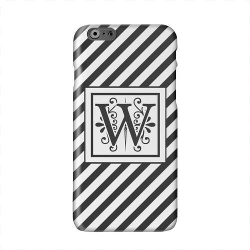 Vintage Vine Monogram W On Black Slanted Stripes Solid White Hard Case Cover for Apple iPhone 6 PLUS/6S PLUS (5.5 inch)