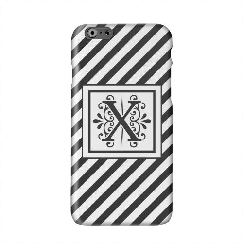 Vintage Vine Monogram X On Black Slanted Stripes Solid White Hard Case Cover for Apple iPhone 6 PLUS/6S PLUS (5.5 inch)