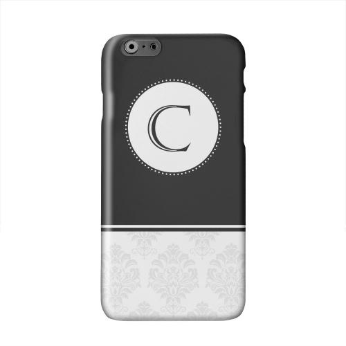 Black Monogram C w/ White Damask Design Solid White Hard Case Cover for Apple iPhone 6 PLUS/6S PLUS (5.5 inch)
