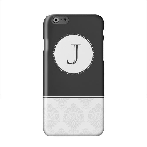 Black Monogram J w/ White Damask Design Solid White Hard Case Cover for Apple iPhone 6 PLUS/6S PLUS (5.5 inch)