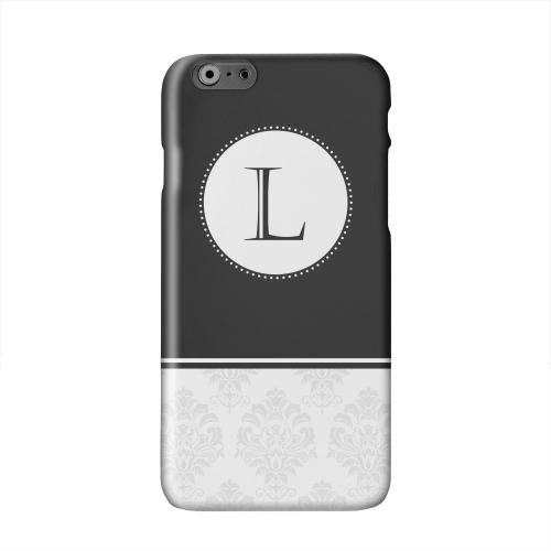 Black Monogram L w/ White Damask Design Solid White Hard Case Cover for Apple iPhone 6 PLUS/6S PLUS (5.5 inch)