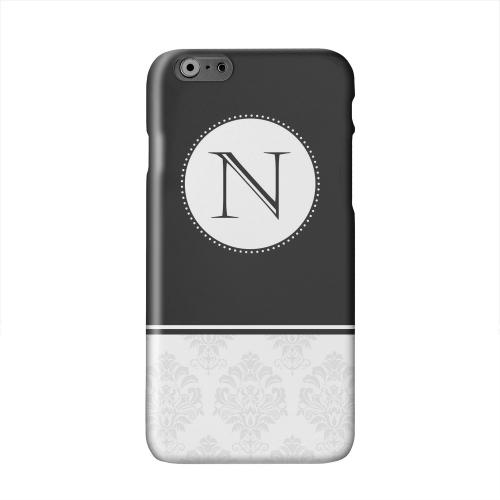 Black Monogram N w/ White Damask Design Solid White Hard Case Cover for Apple iPhone 6 PLUS/6S PLUS (5.5 inch)