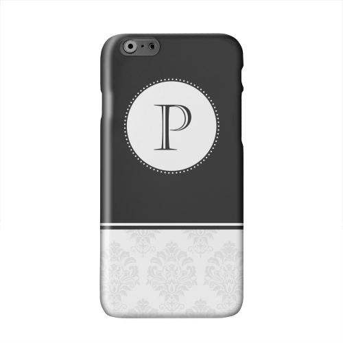 Black Monogram P w/ White Damask Design Solid White Hard Case Cover for Apple iPhone 6 PLUS/6S PLUS (5.5 inch)