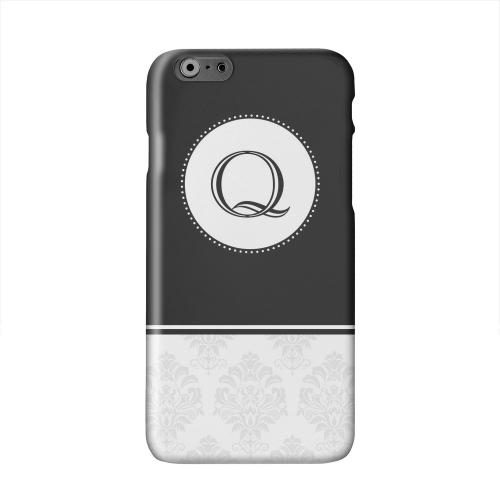 Black Monogram Q w/ White Damask Design Solid White Hard Case Cover for Apple iPhone 6 PLUS/6S PLUS (5.5 inch)