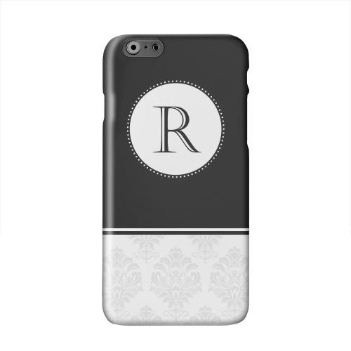 Black Monogram R w/ White Damask Design Solid White Hard Case Cover for Apple iPhone 6 PLUS/6S PLUS (5.5 inch)