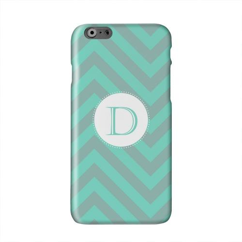 Seafoam Green Monogram D on Zig Zags Solid White Hard Case Cover for Apple iPhone 6 PLUS/6S PLUS (5.5 inch)