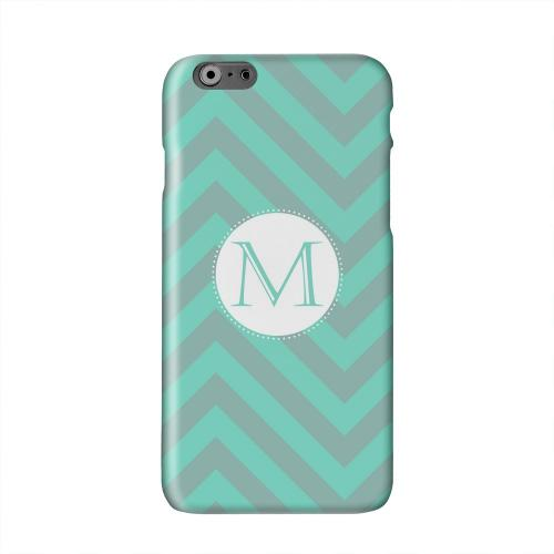 Seafoam Green Monogram M on Zig Zags Solid White Hard Case Cover for Apple iPhone 6 PLUS/6S PLUS (5.5 inch)