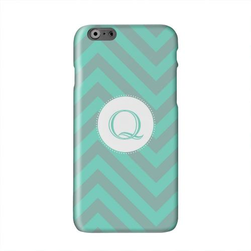 Seafoam Green Monogram Q on Zig Zags Solid White Hard Case Cover for Apple iPhone 6 PLUS/6S PLUS (5.5 inch)