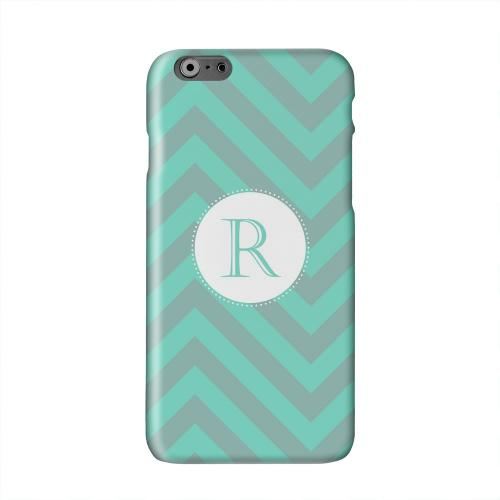 Seafoam Green Monogram R on Zig Zags Solid White Hard Case Cover for Apple iPhone 6 PLUS/6S PLUS (5.5 inch)