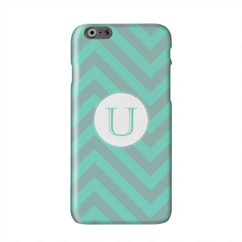 Seafoam Green Monogram U on Zig Zags Solid White Hard Case Cover for Apple iPhone 6 PLUS/6S PLUS (5.5 inch)