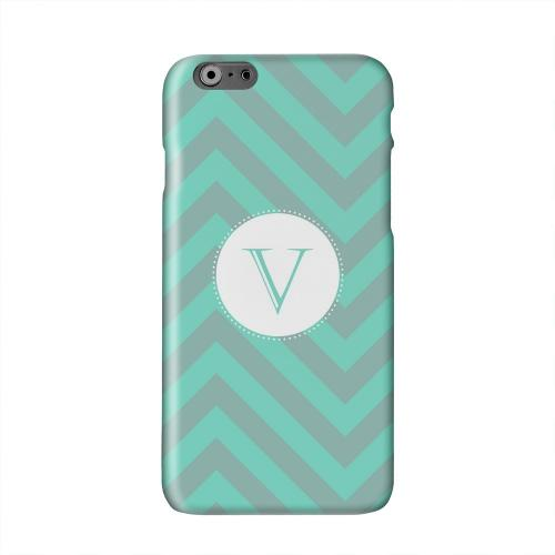Seafoam Green Monogram V on Zig Zags Solid White Hard Case Cover for Apple iPhone 6 PLUS/6S PLUS (5.5 inch)