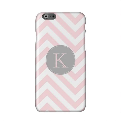 Gray Button Monogram K on Pale Pink Zig Zags Solid White Hard Case Cover for Apple iPhone 6 PLUS/6S PLUS (5.5 inch)