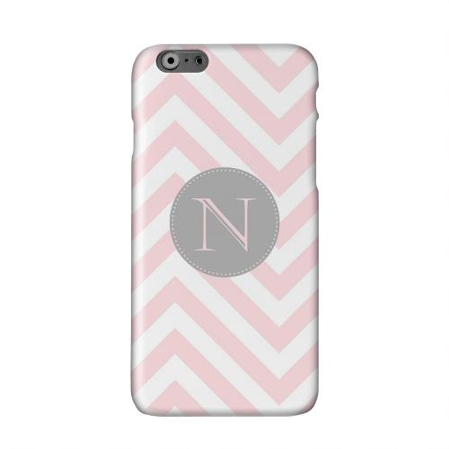 Gray Button Monogram N on Pale Pink Zig Zags Solid White Hard Case Cover for Apple iPhone 6 PLUS/6S PLUS (5.5 inch)