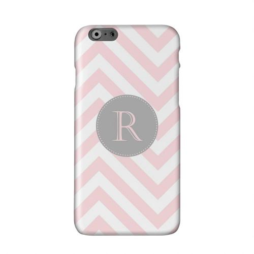Gray Button Monogram R on Pale Pink Zig Zags Solid White Hard Case Cover for Apple iPhone 6 PLUS/6S PLUS (5.5 inch)