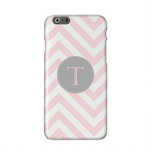 Gray Button Monogram T on Pale Pink Zig Zags Solid White Hard Case Cover for Apple iPhone 6 PLUS/6S PLUS (5.5 inch)