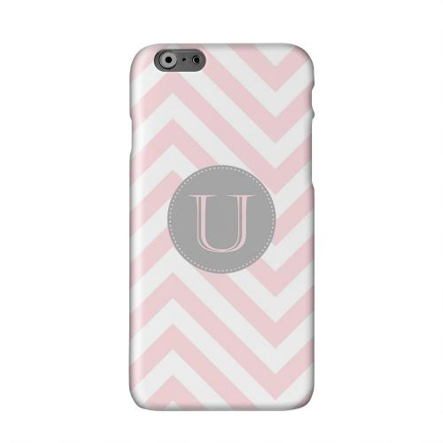 Gray Button Monogram U on Pale Pink Zig Zags Solid White Hard Case Cover for Apple iPhone 6 PLUS/6S PLUS (5.5 inch)
