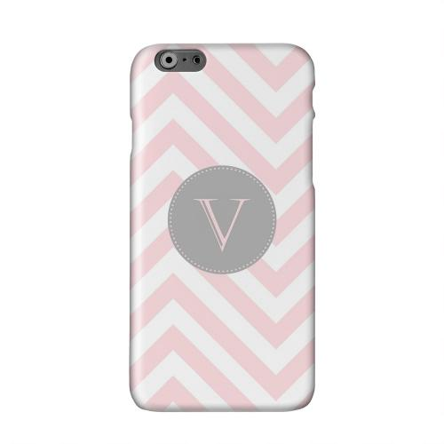 Gray Button Monogram V on Pale Pink Zig Zags Solid White Hard Case Cover for Apple iPhone 6 PLUS/6S PLUS (5.5 inch)