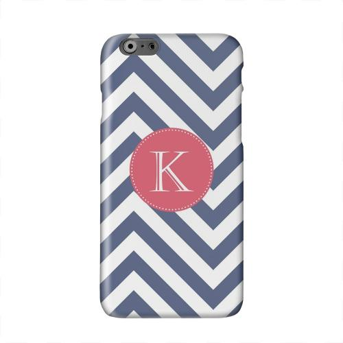 Cherry Button Monogram K on Navy Blue Zig Zags Solid White Hard Case Cover for Apple iPhone 6 PLUS/6S PLUS (5.5 inch)
