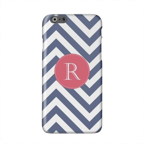 Cherry Button Monogram R on Navy Blue Zig Zags Solid White Hard Case Cover for Apple iPhone 6 PLUS/6S PLUS (5.5 inch)