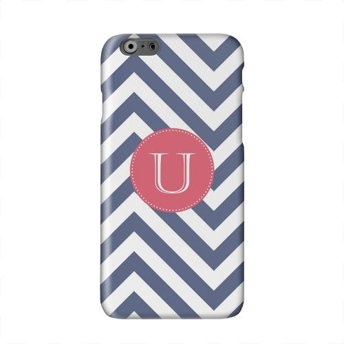 Cherry Button Monogram U on Navy Blue Zig Zags Solid White Hard Case Cover for Apple iPhone 6 PLUS/6S PLUS (5.5 inch)