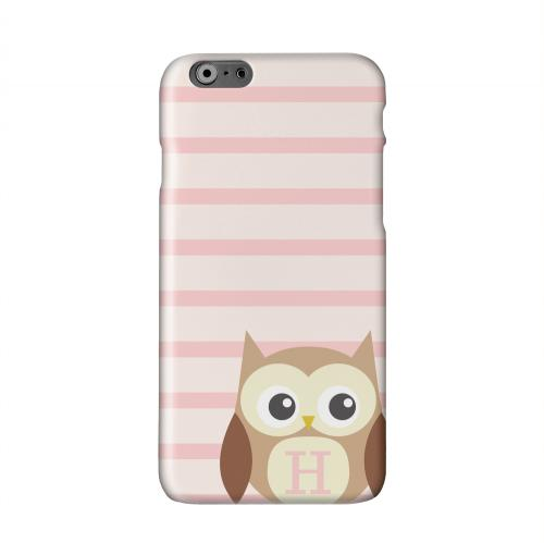 Brown Owl Monogram H on Pink Stripes Solid White Hard Case Cover for Apple iPhone 6 Plus