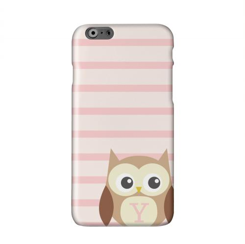 Brown Owl Monogram Y on Pink Stripes Solid White Hard Case Cover for Apple iPhone 6 Plus