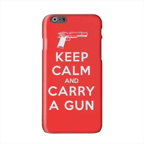 Red Carry A Gun Solid White Hard Case Cover for Apple iPhone 6 PLUS/6S PLUS (5.5 inch)