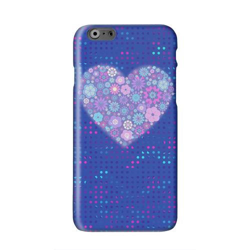 Shimmer Blue Dots & Heart Solid White Hard Case Cover for Apple iPhone 6 PLUS/6S PLUS (5.5 inch)
