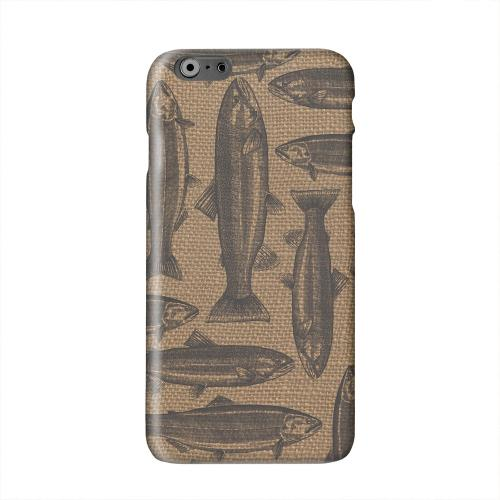 Vintage Salmon & Trout on Burlap Solid White Hard Case Cover for Apple iPhone 6 PLUS/6S PLUS (5.5 inch)