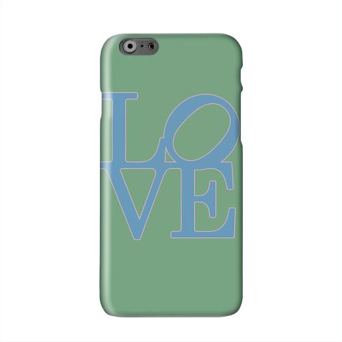 Blue Love on Green Solid White Hard Case Cover for Apple iPhone 6 PLUS/6S PLUS (5.5 inch)