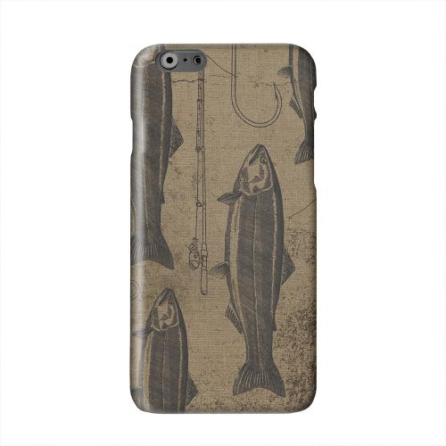 Vintage Salmon/Hook/Pole Print Solid White Hard Case Cover for Apple iPhone 6 PLUS/6S PLUS (5.5 inch)