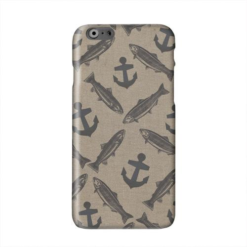 Vintage Salmon/Trout/Anchor Design Solid White Hard Case Cover for Apple iPhone 6 PLUS/6S PLUS (5.5 inch)